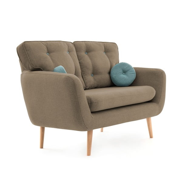 Beżowa sofa 2-osobowa z niebieską poduszką VIVONITA Malva