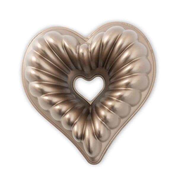Forma na babkę w kształcie serca w miedzianym kolorze Nordic Ware Heart, 2,4 l
