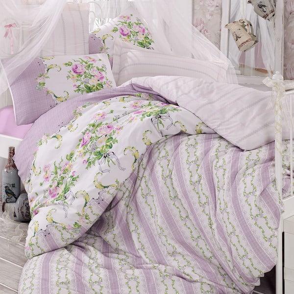 Sada povlečení a prostěradla Purple Romance, 200x220 cm