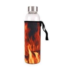 Skleněná láhev na vodu s obalem Kikkerland Fire, 600 ml