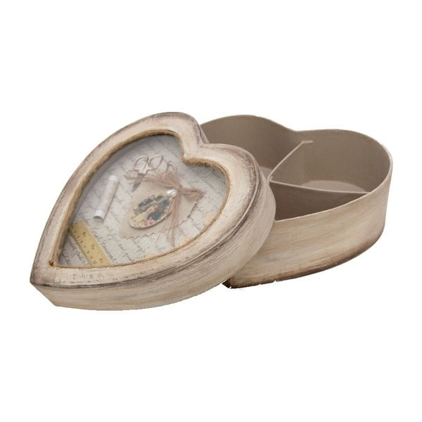 Dřevěná krabice na šití Antic Line Heart