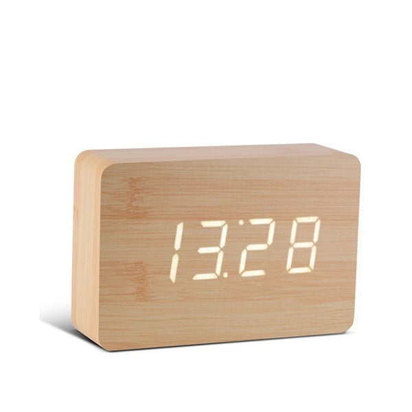 Jasnobrązowy budzik z białym wyświetlaczem LED Gingko Brick Click Clock