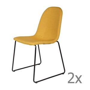 Sada 2 žlutých židlí De Eekhoorn Cooper