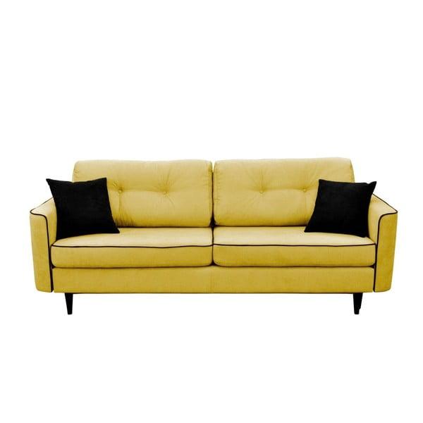 Hořčicově žlutá rozkládací pohovka s černými nohami Mazzini Sofas Magnolia