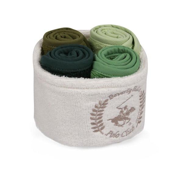 Sada 4 ručníků na ruce v látkovém košíčku Polo Club FIona