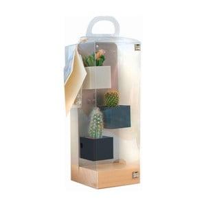 Sada 3ks malých magnetických květináčů s podstavcem a rostlinami, šedá