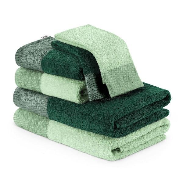 Zestaw 6 zielonych ręczników AmeliaHome