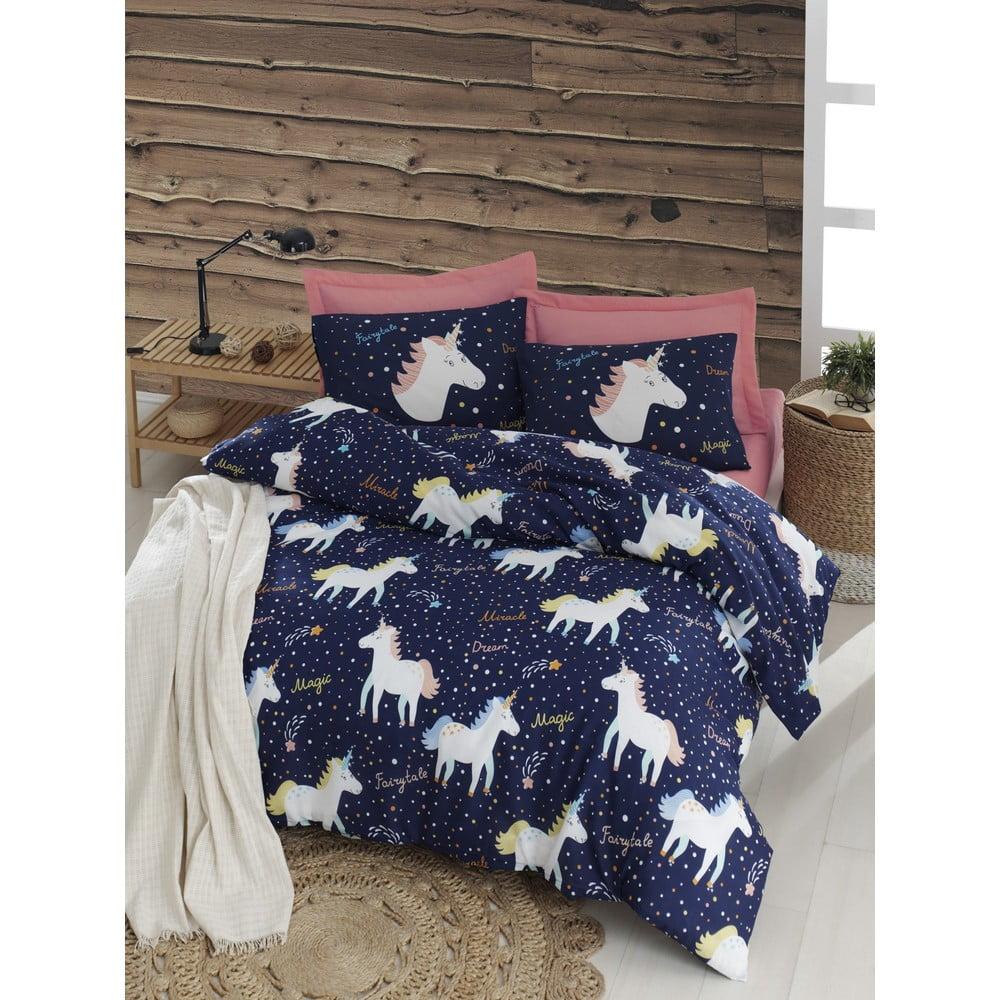 Povlečení s prostěradlem na dvoulůžko Eponj Home Magic Unicorn Dark Blue, 200 x 220 cm
