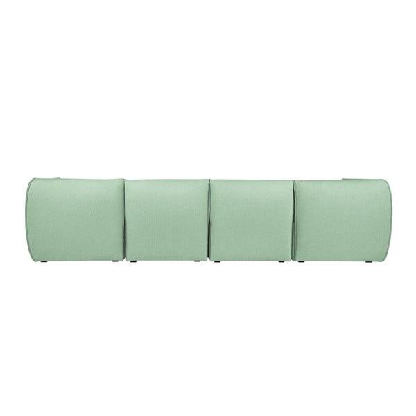 Mentolově zelená modulová čtyřmístná pohovka s lenoškou Norrsken Ollo