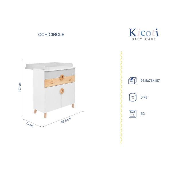 Comodă cu masă pentru schimbat KICOTI Circle, gri - alb