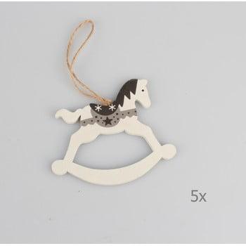 Set 5 decorațiuni suspendate din lemn în formă de cal Dakls, lungime 9 cm, alb imagine