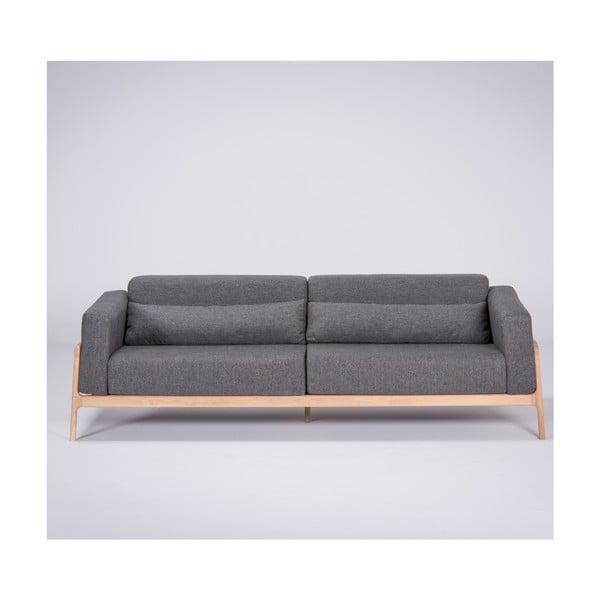 Ciemnoszara sofa z konstrukcją z drewna dębowego Gazzda Fawn, 240 cm