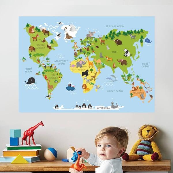 Samolepka na zeď Mapa zvířat, 70x50 cm