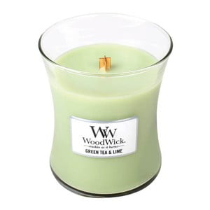 Svíčka s vůní zeleného čaje, máty a limetky WoodWick, dobahoření60hodin