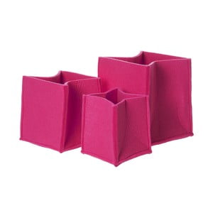 Sada 3 růžových plstěných košů PT Mellow