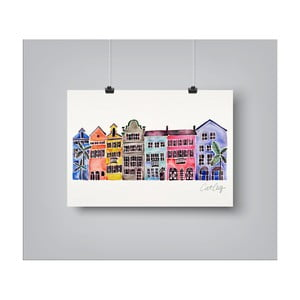 Plakát Americanflat Rainbow Row, 30x42cm