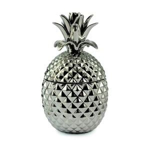 Dekorativní dóza stříbrné barvy ve tvaru ananasu, 27 cm