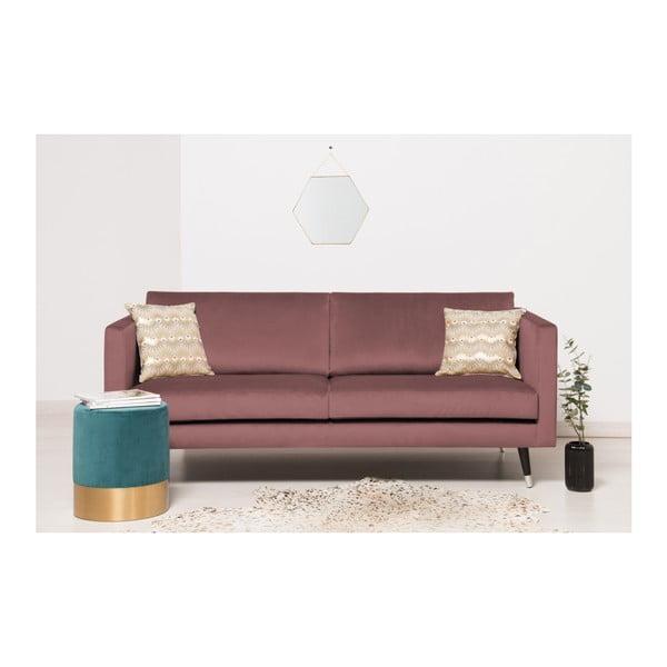 Růžová trojmístná pohovka s nohami ve stříbrné barvě Vivonita Meyer Velvet