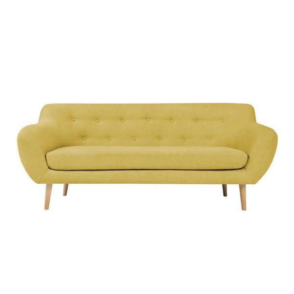 Canapea cu 2 locuri și picioare de culoare deschisă Mazzini Sofas Sicile, galben