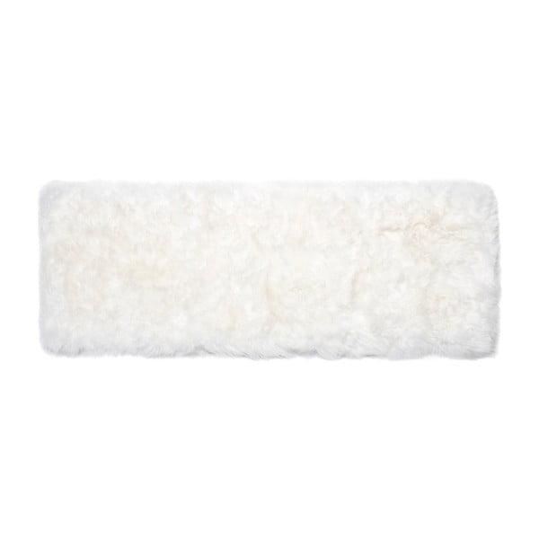 Bílý běhoun z ovčí vlny Royal Dream Zealand, 190x70cm