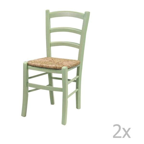 Set 2 scaune din lemn masiv Evegreen House Straw, verde