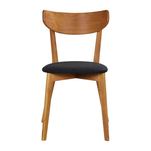 Hnědá dubová jídelní židle s tmavě šedým sedákem Folke Ami