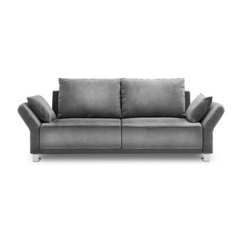 Canapea extensibilă cu înveliș de catifea cu 3 locuri Windsor & Co Sofas Pyxis, gri de la Windsor & Co Sofas