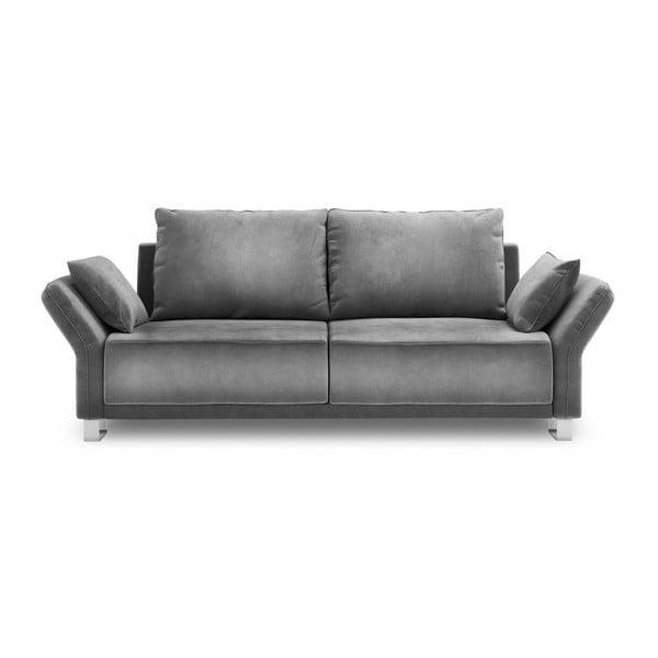 Canapea extensibilă cu 3 locuri și tapițerie de catifea Windsor & Co Sofas Pyxis, gri