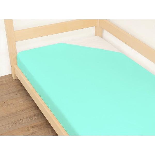 Niebieskie prześcieradło bawełniane Benlemi Jersey, 120x200 cm