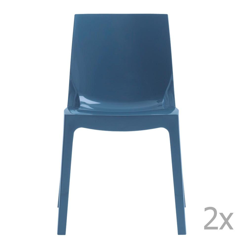 Sada 2 modrých jídelních židlí Castagnetti Ice