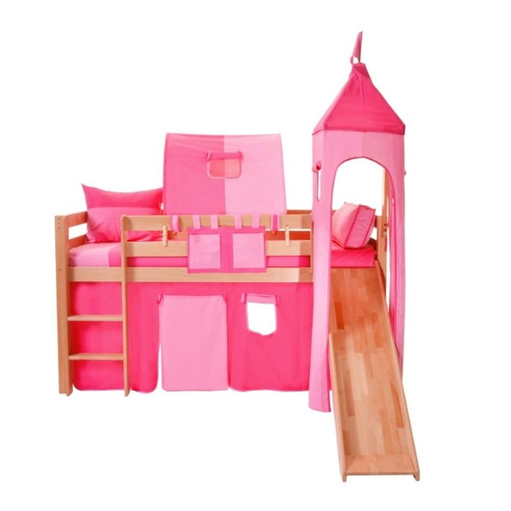 Růžový bavlněný hradní set pro dětské patrové postele Mobi furniture Luk a Tom