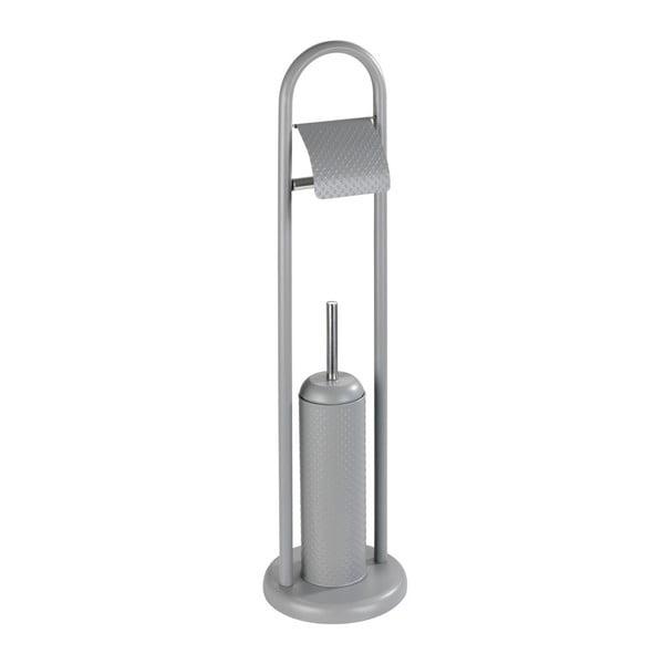 Perie toaletă cu suport oțel inoxidabil pentru hârtie Wenko Punto, gri