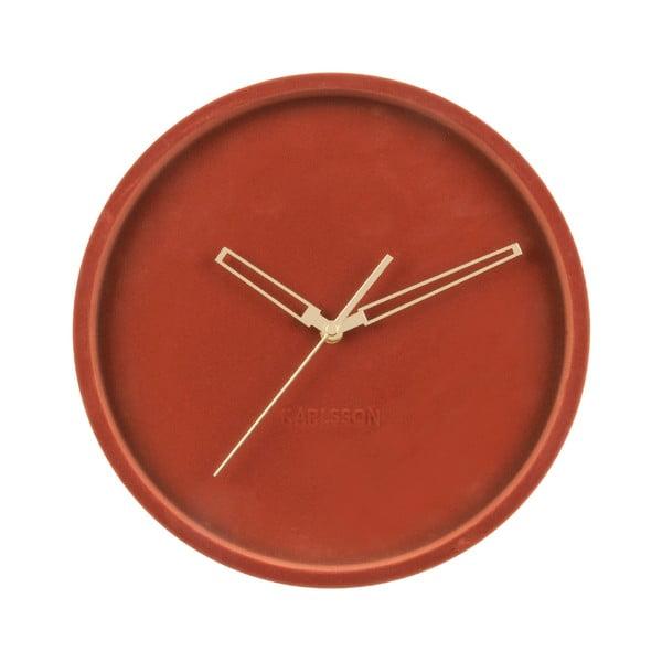 Brązowy aksamitny zegar ścienny Karlsson Lush
