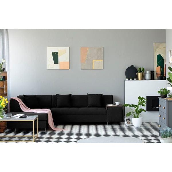 Černá rohová rozkládací pohovka s nohami ve stříbrné barvě Cosmopolitan Design Orlando, levý roh