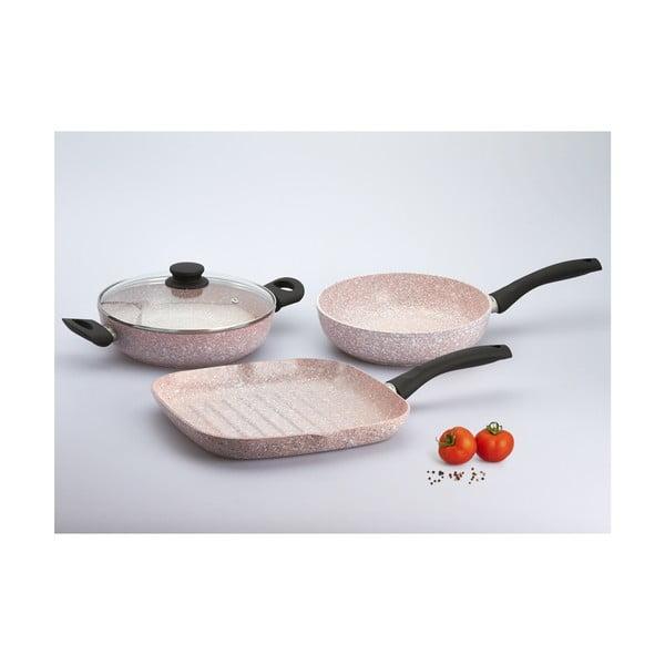 4dílný set nádobí s černou rukojetí Bisetti Stonerose