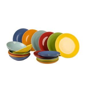 18dílná sada talířů Kaleidos, barevný mix