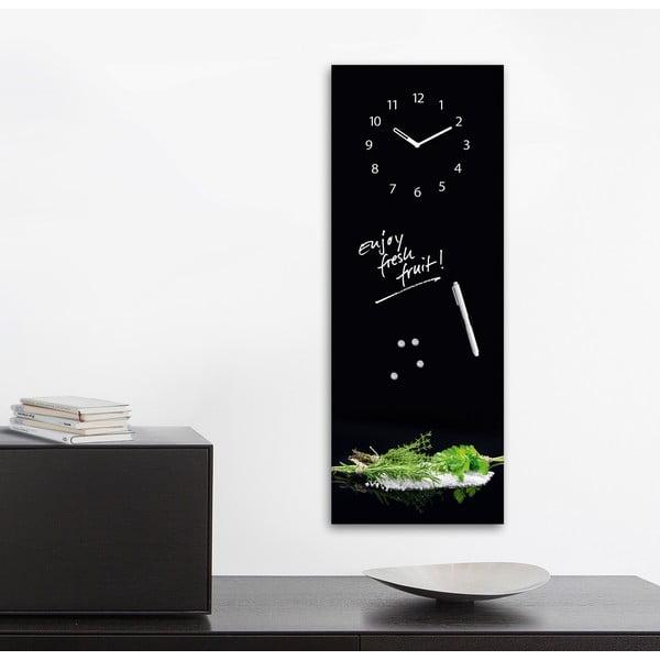 Magnetická tabule s hodinami Eurographic Herbs, 30x80cm