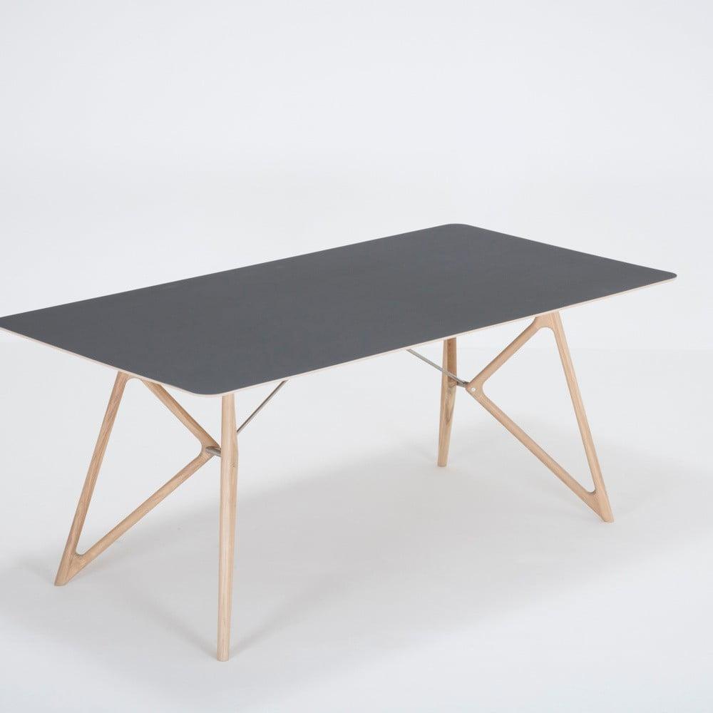 Jídelní stůl z masivního dubového dřeva s černou deskou Gazzda Tink, 180x90cm