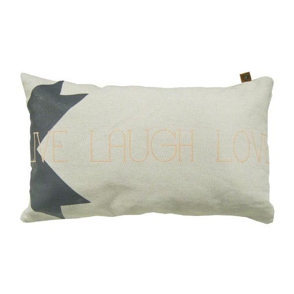 Krémový polštář OVERSEAS Live Laugh Love,30x50cm