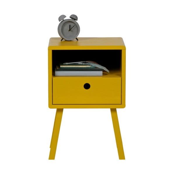 Žlutý noční stolek z masivního borovicového dřeva WOOOD Sammie