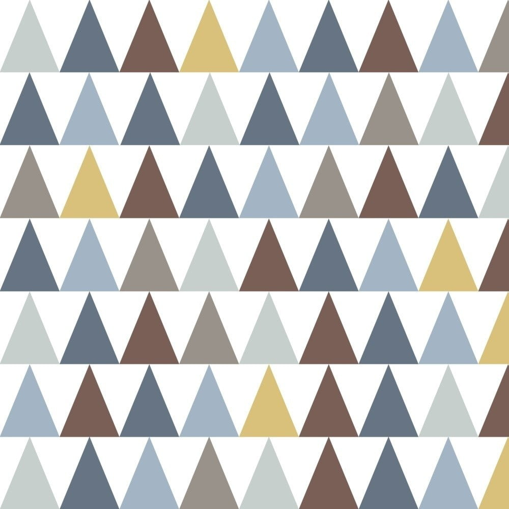 Tapeta do dětského pokoje s modrými detaily Art For Kids Triangles, 48 x 1000 cm