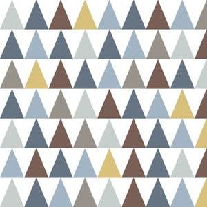 Tapeta do dětského pokoje s modrými detaily Art For Kids Triangles, 48x1000 cm