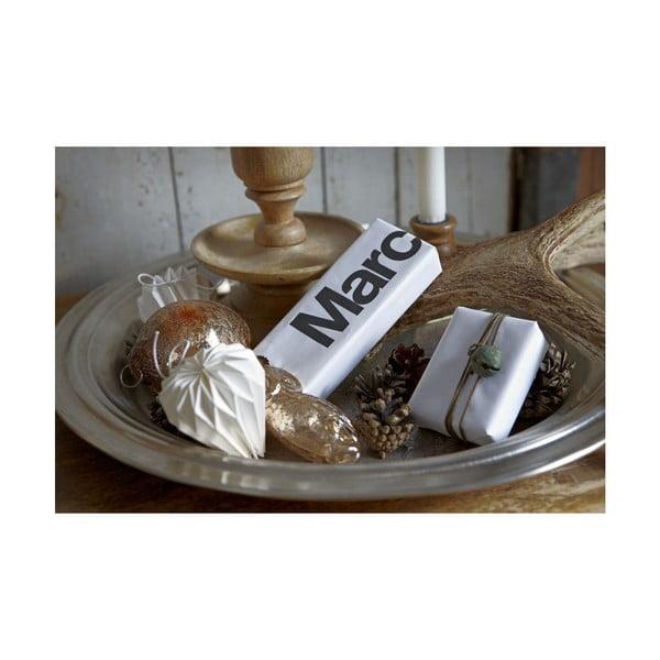 Vánoční ozdoba, papírová, bílá, 4 ks
