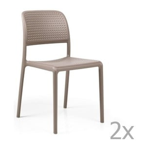 Sada 2 béžovošedých zahradních židlí Nardi Bora Bistrot
