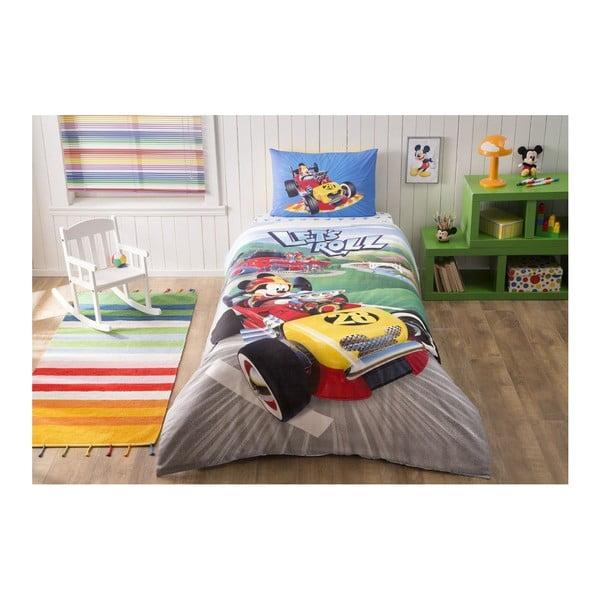 Lenjerie de pat din bumbac cu cearșaf Disney Mickey Racer, 160 x 220 cm