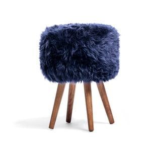 Stolička s tmavě modrým sedákem z ovčí kožešiny Royal Dream