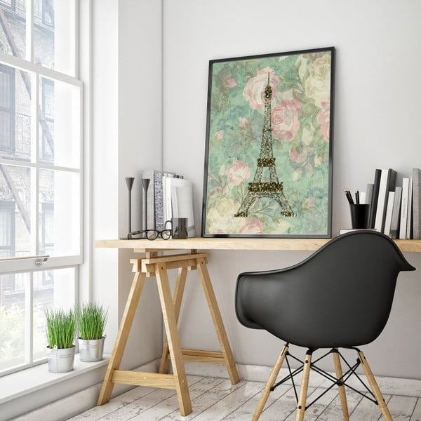 Plakát v dřevěném rámu Eiffel, 38x28 cm