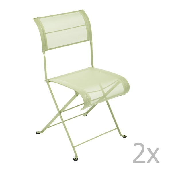 Sada 2 zelenkavých skládacích židlí Fermob Dune
