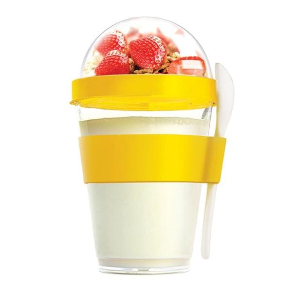 Žlutý svačinový kelímek Asobu Yo2GO, 360 ml