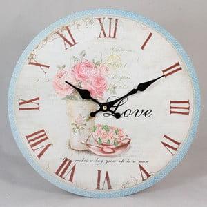 Dřevěné hodiny Love Roses